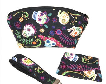 Women's Make-Up Bag, Wallet/Gift Card Holder/Key Fob Gift Set in a Colorful Day of the Dead Sugar Skull Day of the Dead Print