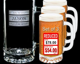 Gifts for Groomsmen - Set of 3 TRIPLE PLATE BEER Mugs - 16 oz Etched Glass Wedding Beer Mugs by Distinct Glass Studio - Ships to Canada