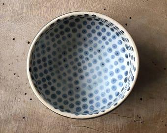 Matcha green tea bowl, Handmade tea bowl, Shawan bowl, Gift for her, Danish unique bowl, Breakfast bowl Farmhouse style bowl, Polka dot bowl