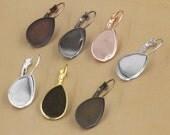 50 Brass Silver/ Gold/ Rose Gold/ White Gold/ Gun-Metal Plated Lever-Back Ear Wire W/ Jagged 10x14mm/ 13x18mm/ 18x25mm Teardrop Bezel- Z5929
