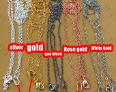 20PCS Brass Necklaces 27 inches White Gold/ Silver/ Gold/ Gun-Metal 2mm Flat Oval Loop Chain end with Lobster Clasp Pendant Bails- Z8531