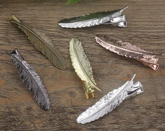 20 Feather Hair Clips- Brass Antique Bronze/ Silver/ Gold/ Rose Gold/ White Gold/ Gun-Metal Plated- Z5822