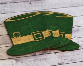 Saint Patrick's day decorations, Paddy's day wooden coasters, Hat coasters, Green coasters, Gift under 10, Kitched decors,Set of 3