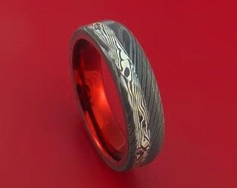 Damascus Steel Hammered Ring with Silver Mokume Shakudo and Anodized Titanium Sleeve Custom Made Band