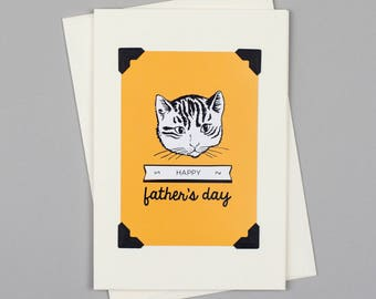 """Handmade Father's Day Card """"Happy Father's Day"""" in Vintage Style with Cat Illustration"""