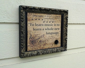Musical themed mini Magnetic Board fabric musical quote over sheet metal and accented with black satin ribbon, classical music gift for grad