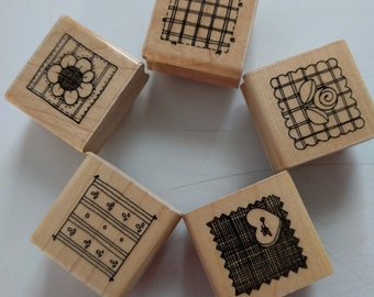 Set of 5, rubber stamps, close to my heart, DOTS,