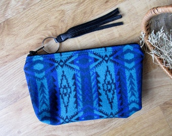 Medicine Bag, Keychain, Coin, Zipper Change Purse, Pencil Case, Clutch Tribal Southwest Turquoise and Blue Leather Tassel or Beads 8 x 5
