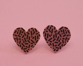 CLEARANCE Heart Earrings // Confetti Print Earrings // Memphis Modern Earrings // Graphic Earrings // Geometric Earrings