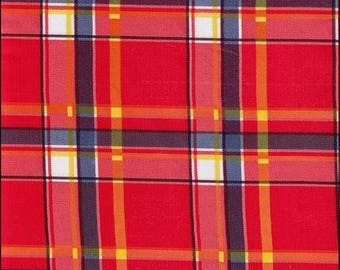 Large Round Plaid Red and Blue Oilcloth Tablecloth