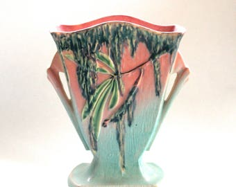 Vintage 1930s Roseville Art Pottery Moss Fan Vase #778-7 Mid-Period Piece -Pink and Green