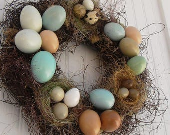 14 Inch Real Chicken and Quail Egg Sampler Wreath: Enhanced Shades of Blue, Brown, Green