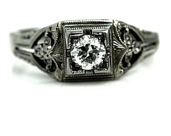 Filigree Engagement Ring Art Deco Engagement Ring .30ctw Antique Solitaire Diamond Ring 18K White Gold Solitaire European Cut Diamond Ring!