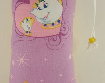 Hand Pipe Sized, Medium Sized, Padded, Beast, Mrs Potts, Fairy Tales, Beauty and the Beast,  Print, Cute Bag, Glass Pipe Bag, Padded