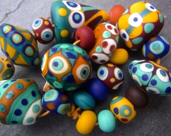 1001 Nights - Handmade Lampwork Glass Bead Set (21) by Anne Schelling, SRA