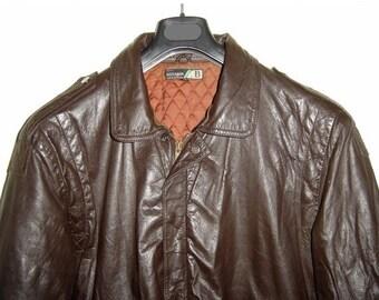 ON SALE Vintage 1980's BIDERMANN Aviator Brown Leather Jacket Mens L Large
