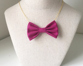 Cerise Bow Tie Necklace, Women Bowtie Accessory Cherry Pink PreTied BowTie for Women and Girls, Fear Character Costume