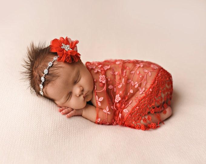 Featured listing image: Red Wrap and Headband Set, Christmas Photo Prop, Newborn Photo Prop, Baby Girl Headband, Rhinestone Headband