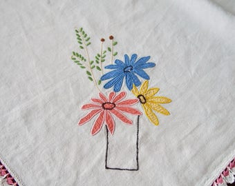 Linen Luncheon Cloth Tablecloth Embroidered Applique Flowers 34 x 35