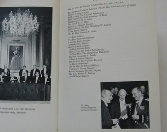 ON SALE Vintage Book Proceedings of the Presentation of the Williamsburg Award to Sir Winston S. Churchill 1955 Hardcover Illustrated Collec