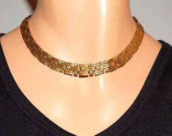 Vintage Necklace, Gold, 15 in Choker