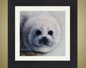 PRINT or GICLEE Reproduction -- Baby Harp Seal 12x12 -- Illustration From My Children's Book -- Ice Baby
