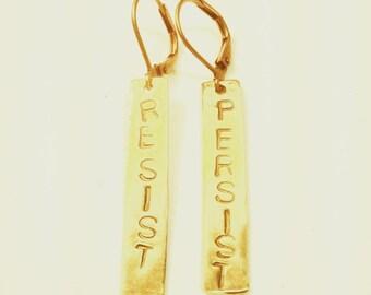 Resist Persist Stamped Brass Earrings