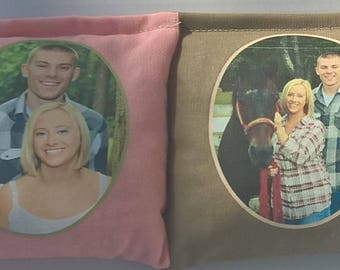 8 Wedding resin poly cornhole bean bags. Corn hole board bags personalized house warming shower gift by Southsidebeanbags