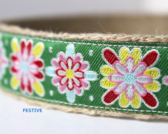 Floral Dog Collar, Adjustable Dog Collar, Starburst Dog Collar, Colorful Dog Collar, Dog Collar