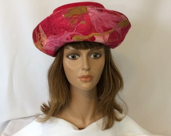 Vintage Ladies Hot Pink Velvet Hat With Feather Trim //1950's-60's Quaker Maid Hat // Costume Role-Play Hat