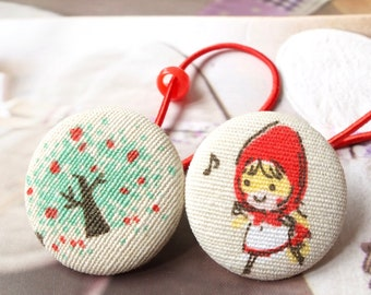 Girl Hair Accessories, Hair Tie Button Ponytail Holders - Fairy Tale Little Red Riding Hood Apple Tree Woods Forest Collection (1 Pair)