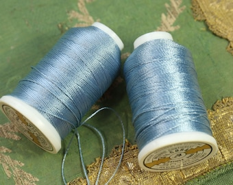 2 vintage spool lot silcora beading sewing thread blue 7567 size F polyamide 100 yards+ each family belding corticelli