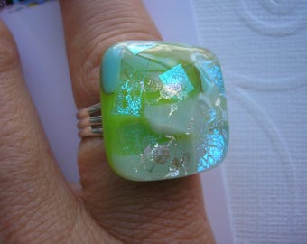 Ring Dichroic Apple Green and Aqua Iridescent Fused Glass Adjustable Silver Plated Square Ring Statement Chunky Jewelry Bold Color Shifting