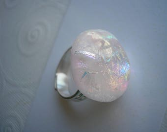 Ring Dichroic Glass Pastel Pearly Pink Iridescent Fused Glass Jewelry Adjustable Silver Plated Ring Soft Colors Statement Color Shifting