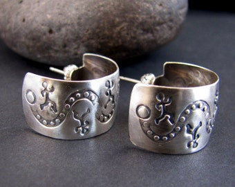Happy Trails Hikers Sterling Silver Cuff Earrings