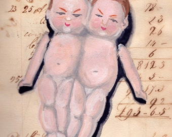 Giclée Print Vintage Bisque Conjoined Twins in Gouache