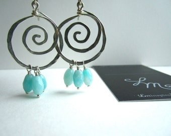 Blue Amazonite Drop Hammered Sterling Silver Spiral Earrings by LM-inspired