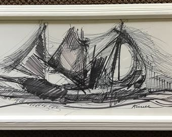 Vintage 1960s Abstract Ink Nautical Ship Retro Art Wall Hanging Mid Century Modern Sixties Signed Kinsella St. Louis