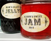Custom Oval Vintage canning jar labels, quilted jam and jelly jar labels, customized and personalized oval mason jar labels