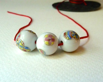 Chinese Porcelain Beads - Colorful Ball Design - 13mm - Qty 6 pcs