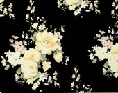 Black Cream Yellow and Green Floral Brushed Poly Spandex Knit, 1 yard