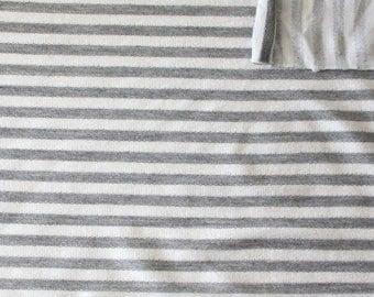 Grey and Cream Striped Rayon Spandex Micro French Terry Knit Fabric, 1 yard