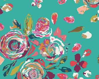 Teal Magenta Pink and Green Floral Jersey Knit, Swifting Flora Boho, 1 yard