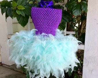 Mermaid birthday tutu, tutu, feather tutu, flower girl tutu, flower girl tutu, photo prop, tutu dress, party dress, little girl dress, dress