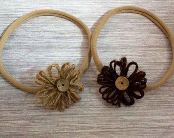 Set of 2 Baby Headbands, newborn headband, baby headband, twine flower headband, knotted headband, summer headwrap, baby headwrap