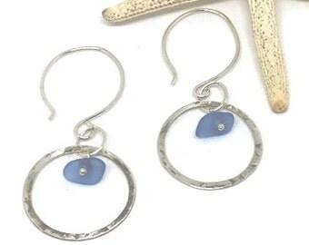 Sterling Sea Glass Earrings - Lake Erie Beach Glass - Cornflower Blue Earrings - Pierced Earrings - Gift For Her - FREE US Shipping