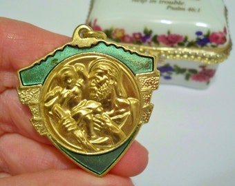 Saint Christopher rosary necklace medal - Green enamel and gold - Italy - Vintage religious - cheesegrits