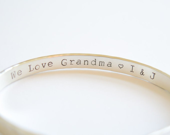 We Love Grandma Personalized Solid Sterling Silver Cuff Bracelet - Hand Stamped - Personalized - Customizable for Mothers Day