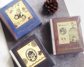 Library Kitty Birdie Rabbit rubber stamp set by kodomo no kao