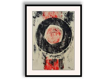 Modern Abstract Art Black Cream Red Simple Minimalist Monochrome Hand Pulled Collagraph Mono Print Monoprint Art For Business Office Art